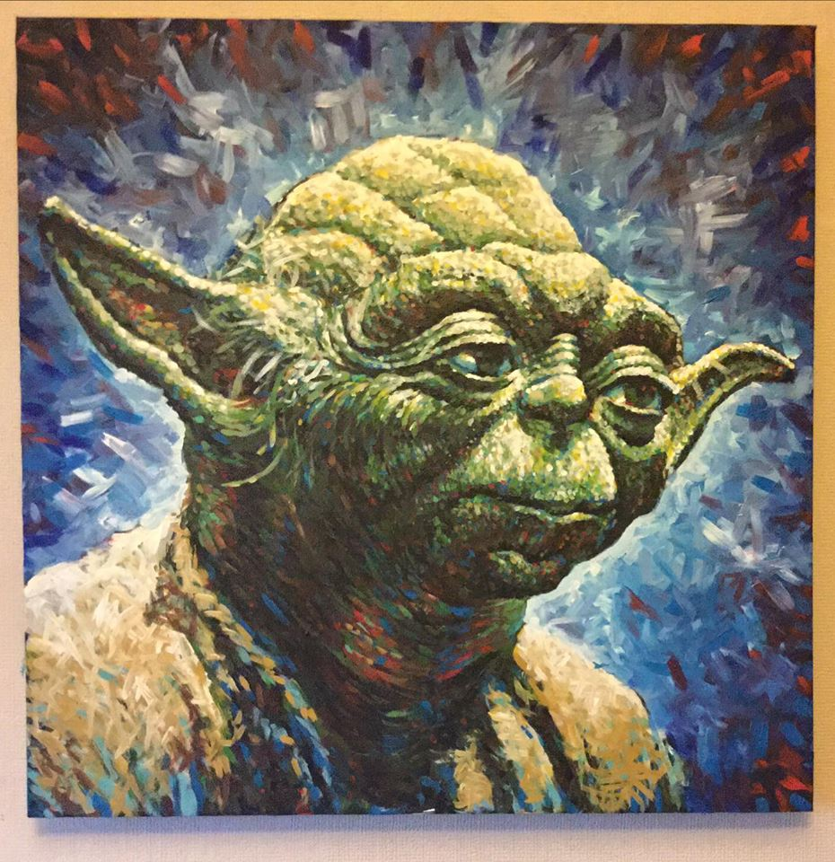 yoda star wars acrylic painting